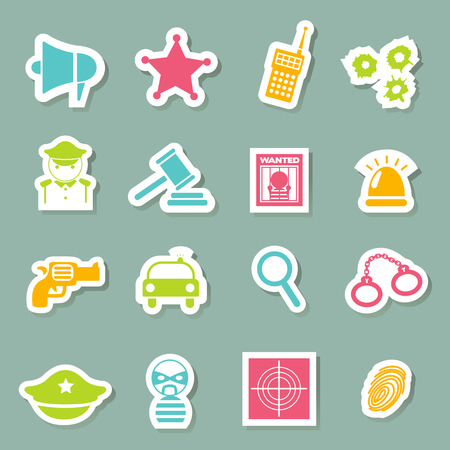 illustration of police Icons Vector