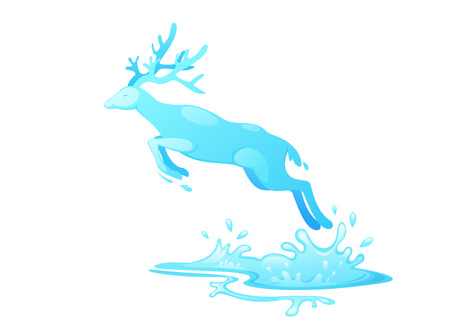 jungle jumping: illustration of jumping deer out of water vector
