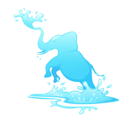 welling: illustration of jumping elephant out of water vector Illustration