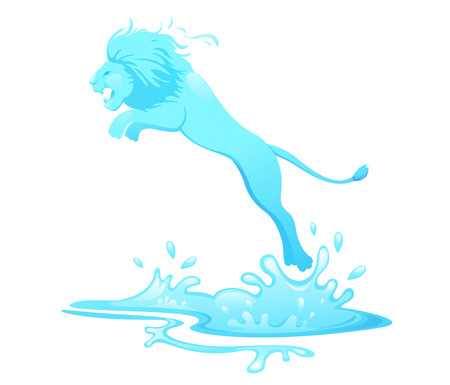 illustration of jumping lion out of water vector Illustration