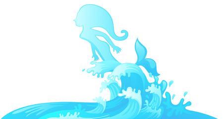illustration of jumping mermaid out of water vector Stock Vector - 30556331