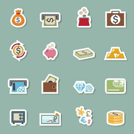 money icons: illustration of money icons vector eps10 Illustration