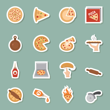 illustration of Pizza icons vector eps10 Vector