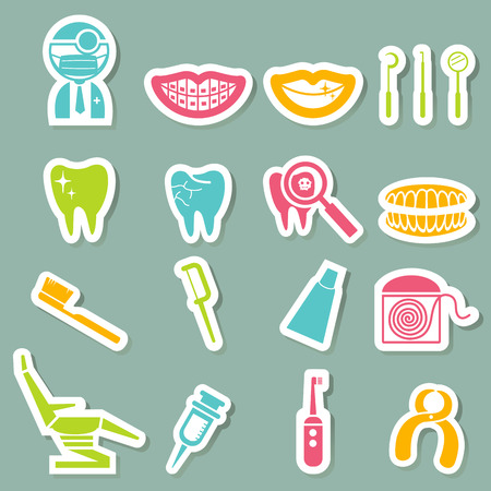 floss: illustration of dental Icons