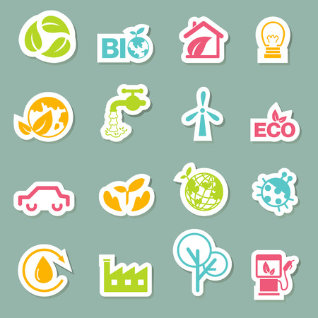 illustration of eco icons set vector Vector