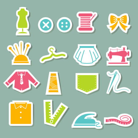 dressmaking: illustration of sewing equipment icons Illustration