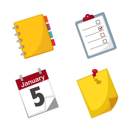 yellow notepad: illustration of isolated note paper and calendar set vector Illustration
