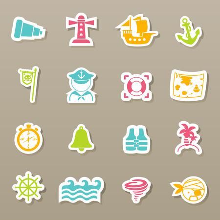 poison sea transport: pirates icons set