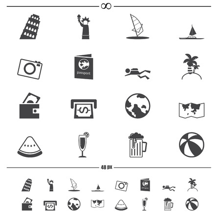 travel icons vector Vector