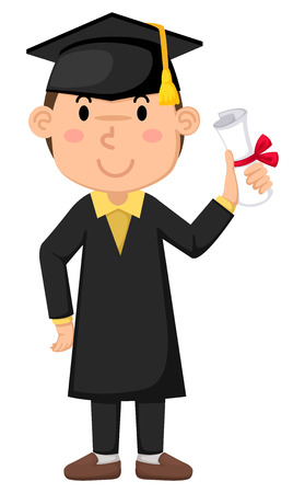 Illustration of boy in graduation gown Vector