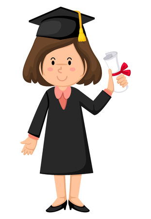 masters degree: Illustration of girl in graduation gown
