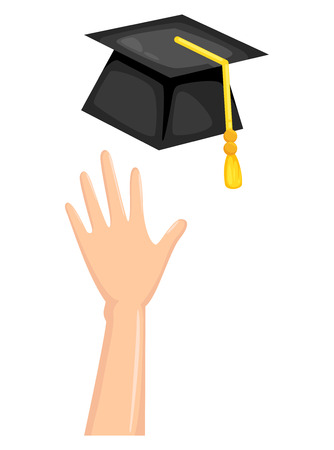 final: Illustration of graduation cap with hand vector