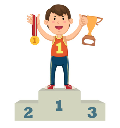 winner podium: Illustration of a boy winner on a podium