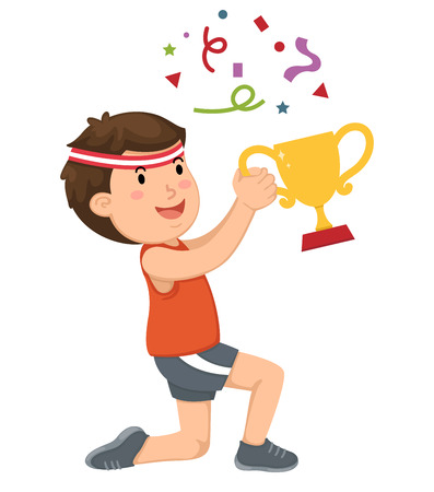 award trophy: Illustration of a boy champion with his trophy vector