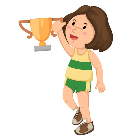 Illustration of a girl champion with his trophy vector Vector