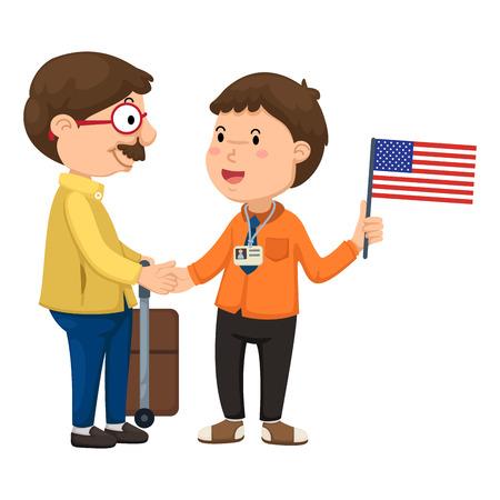 Ilustración de turistas y guía vectorial