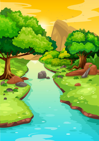 illustration of forest with a river background