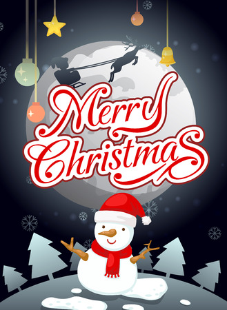 illustration of merry christmas typography and snowman landscape background  Vector