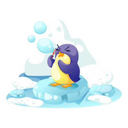 illustration penguin on a bit of ice  Vector