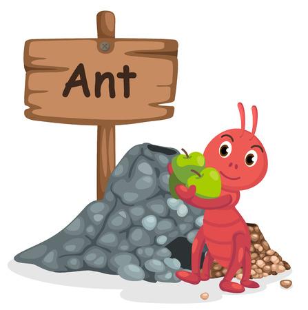 ant: animales alfabeto letra A para la hormiga ilustración vectorial Vectores