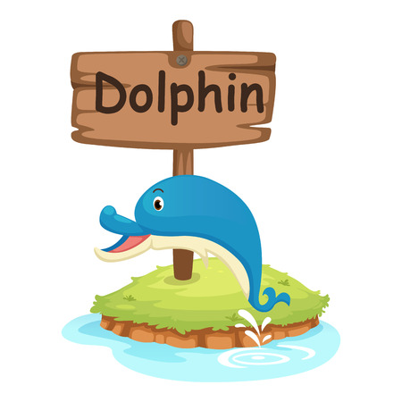animal alphabet letter D for dolphin illustration vector Vector