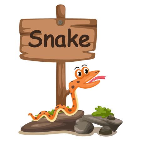 children s book: animal alphabet letter S for snake illustration vector