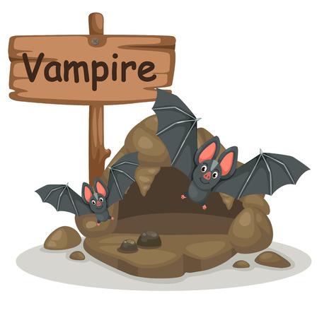 animal alphabet letter V for vampire illustration vector Vector