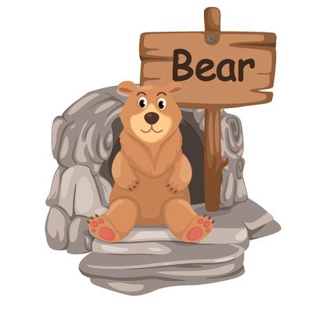 animal alphabet letter B for bear illustration vector Vector