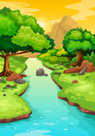 lake  pond  trees: illustration of forest with a river background