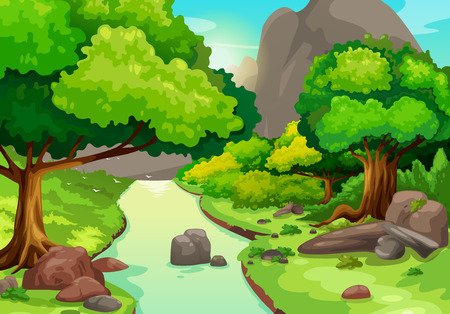 river rocks: illustration of forest with a river background