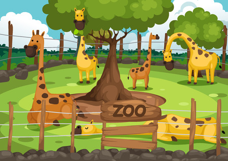 illustration of a zoo and giraffe vector  イラスト・ベクター素材