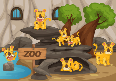 illustration of a zoo and tiger vector Vector