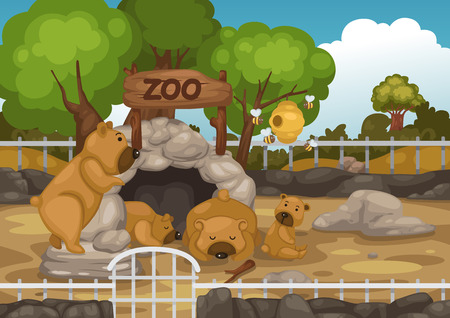 stone work: illustration of a zoo and bear vector