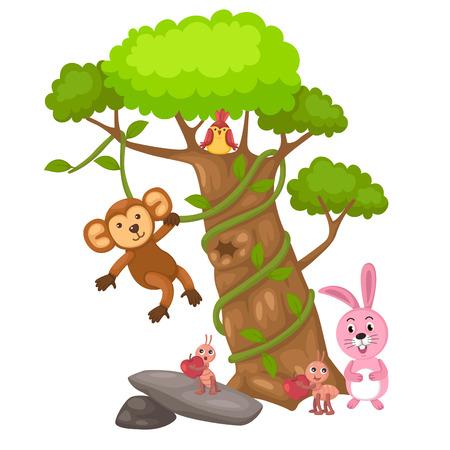 ant leaf: ilustración del gran árbol y el mono y ave y conejo y el vector hormiga