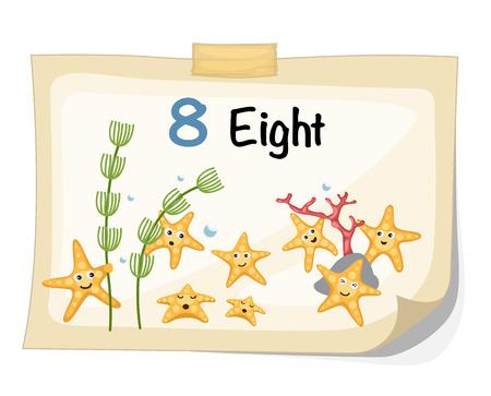 alga: Illustrator of number eight starfish vector