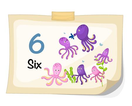 Illustrator of number six octopus vector Vector