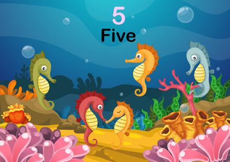caballo de mar: Ilustraci�n de la n�mero cinco del caballo de mar bajo el vector mar
