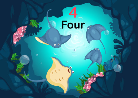 Illustration of number four stingray under the sea vector Vector