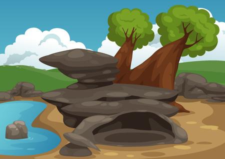 Illustration of rocks with pond scene vector Vector