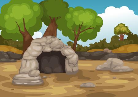 Ilustración del paisaje con la cueva del vector