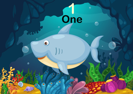 Illustration of number one shark under the sea vector Vector