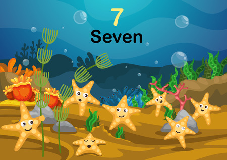 Illustration of number seven star fish under the sea vector Vector