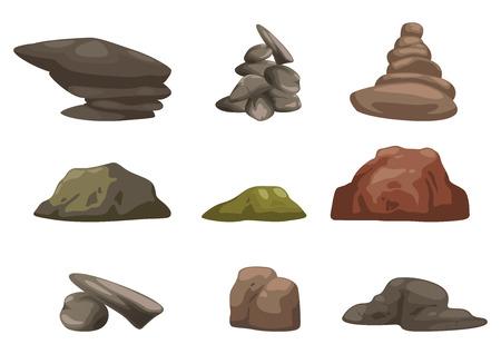 stone stones rock: illustration of stone set vector Illustration
