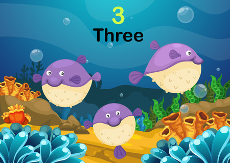 Illustration of number three puffer fishes the sea vector Vector