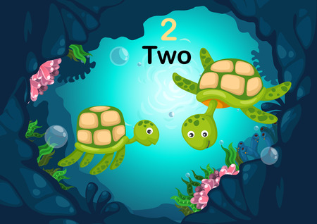 deepsea: Illustration of number two tortoise under the sea vector