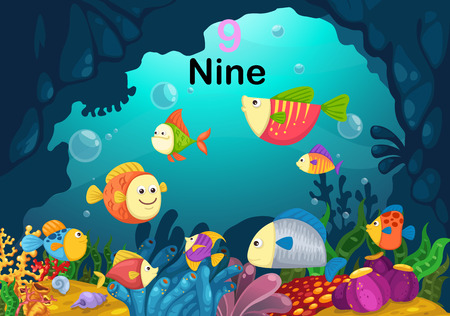 Illustration of number nine fish under the sea vector Vector