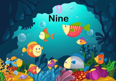 Illustration of number nine fish under the sea vector