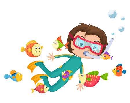 illustration of boy scuba diving vector
