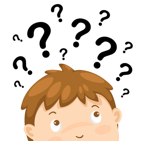 rational: illustration of boy thinking with question marks vector