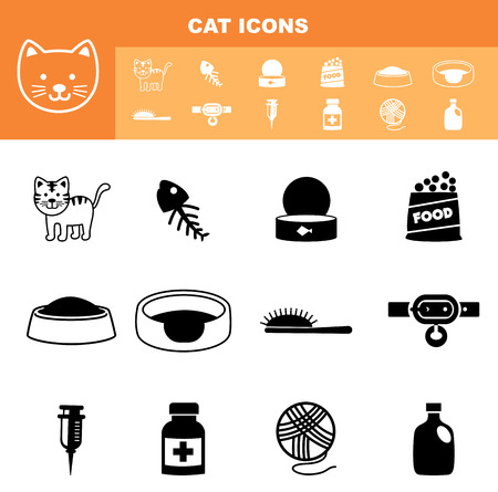 illustration of cat icon set vector Vector